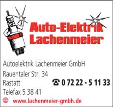 Anzeige Lachenmeier Auto-Elektrik