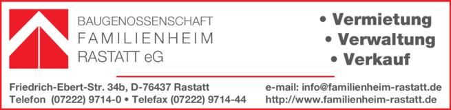 Anzeige Baugenossenschaft Familienheim Rastatt e.G.