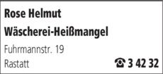 Anzeige Rose Helmut Wäscherei-Heißmangel