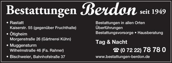 Anzeige Berdon Beerdigungs-Institut