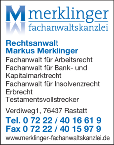 Anzeige Merklinger Markus Fachanwaltskanzlei