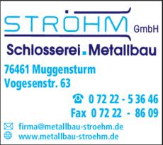 Anzeige Ströhm GmbH , Schlosserei, Metallbau
