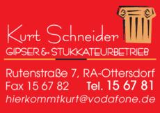 Anzeige Schneider Kurt, Gipser - Stukkateurbetrieb