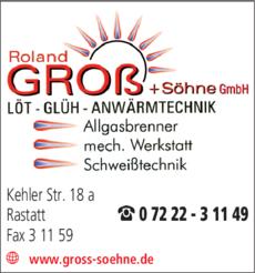 Anzeige Groß Roland & Söhne GmbH LÖT-GLÜH-ANWÄRMTECHNIK
