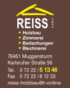 Anzeige Reiss GmbH , Holzbau u. Bedachungen