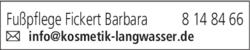 Anzeige Fußpflege Fickert Barbara