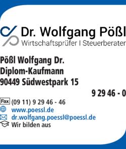 Anzeige Pößl Wolfgang Dr. Wirtschaftsprüfer Steuerberater Diplom-Kaufmann