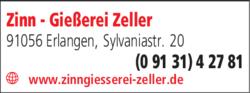 Anzeige Zinn - Gießerei Zeller