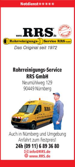 Anzeige Rohrreinigungs-Service RRS GmbH