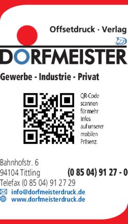 Dorfmeister Offsetdruck U Verlag In Tittling Im Das Telefonbuch