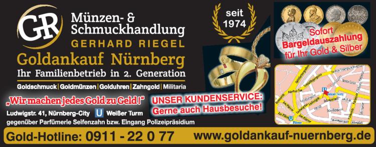 Anzeige Goldschmuck Riegel