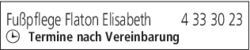 Anzeige Fußpflege Flaton Elisabeth