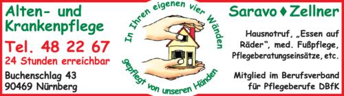 Anzeige Ambulante Alten- und Krankenpflege Saravo - Zellner