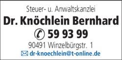 Anzeige Knöchlein Bernhard Dr.