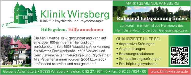 Anzeige Krankenhaus Klinik Wirsberg für Psychiatrie und Psychotherapie