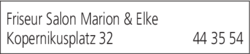 Anzeige Friseur Salon Marion & Elke