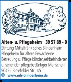 Anzeige Alten- u. Pflegeheim Stiftung Mittelfränkisches Blindenheim