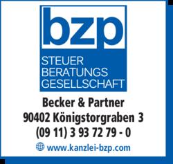 Anzeige Becker, Zeiler & Partner Steuerberatungsgesellschaft mbB