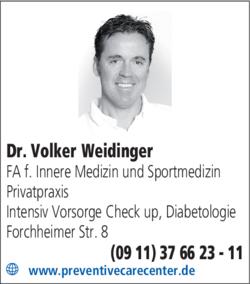 Anzeige Dr. Volker Weidinger, Internist Nürnberg