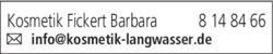 Anzeige Kosmetik Fickert Barbara