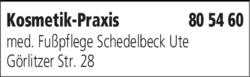 Anzeige Kosmetik-Praxis med. Fußpflege Schedelbeck Ute