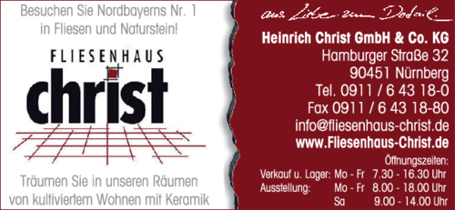 Fliesen christ heinrich gmbh co kg in n rnberg das for Fliesen christ nurnberg