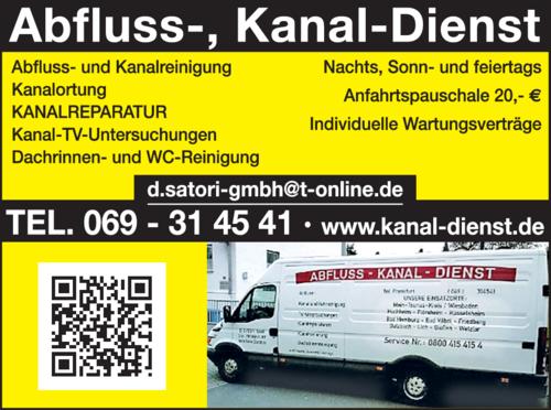 Anzeige Abfluss-Kanaldienst Satori GmbH