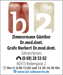 Anzeige Zimmermann Günther, Grafe Norbert Dres.med.dent.