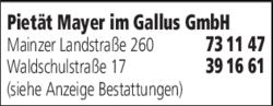 Anzeige Pietät Mayer Im Gallus GmbH