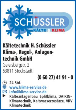Anzeige Kältetechnik H. Schüssler Klima-, Regel-, Anlagentechnik GmbH