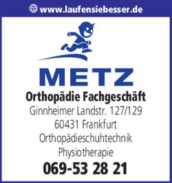 Anzeige Orthopädie Fachgeschäft Metz