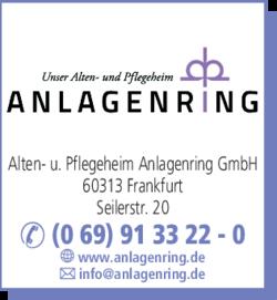 Anzeige Alten- u. Pflegeheim Anlagenring GmbH