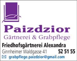 Anzeige Friedhofsgärtnerei Paizdzior