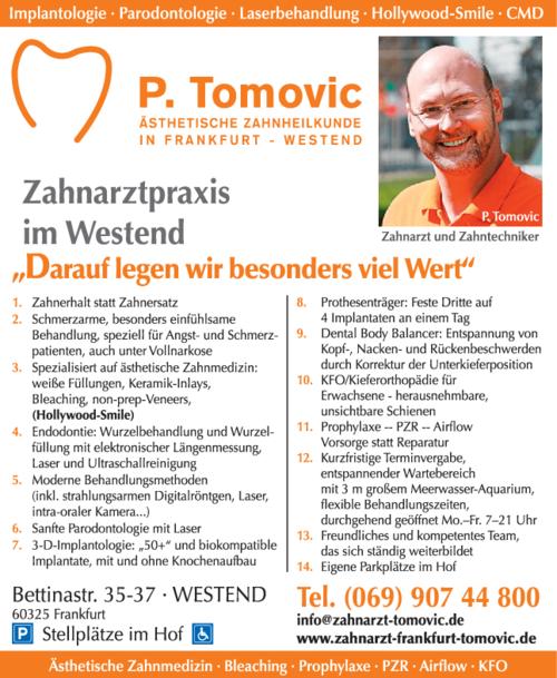 Anzeige Zahnarzt P. Tomovic - Ästhetische Zahnheilkunde in Frankfurt Westend