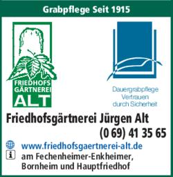 Anzeige Friedhofsgärtnerei Alt