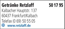 Anzeige Getränke Retzlaff