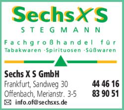 Anzeige Sechs X S GmbH