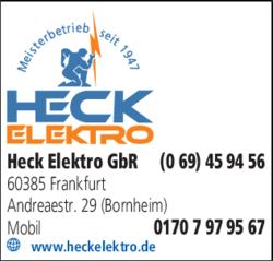 Anzeige Heck Elektro GbR