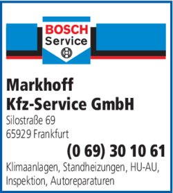 Anzeige Markhoff Auto Service Kfz-Service GmbH