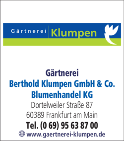 Anzeige Gärtnerei Berthold Klumpen