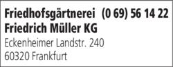 Anzeige Friedhofsgärtnerei Friedrich Müller KG