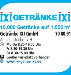 Anzeige Getränke IXI GmbH