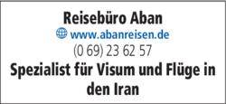 Anzeige Reisebüro Aban international Reisen