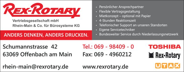 Anzeige Rex-Rotary Vertriebsgesellschaft mbH Rhein-Main & Co.