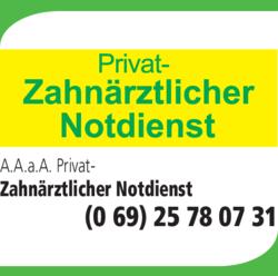 Anzeige A.A.a.A. Privat-Zahnärztlicher Notdienst