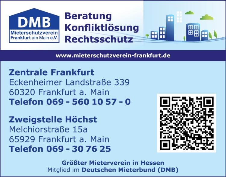 Anzeige Mietangelegenheiten DMB Mieterschutzverein Frankfurt e.V.