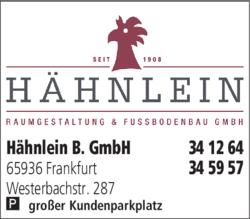 Anzeige Fußboden B. Hähnlein