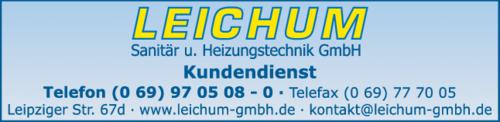Anzeige Sanitär Leichum Sanitär- u. Heizungstechnik GmbH
