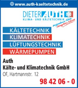 Anzeige Auth Dieter Kälte- u. Klimatechnik GmbH