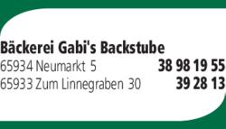 Anzeige Bäckerei Gabis Backstube